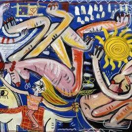 quadro moderno ritratto di donne nude su fondo blu molto movimentato e decorativo nudo elegante non vulgare in stile moderno dipinto a mano da alessandro siviglia