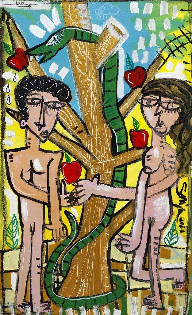 quadro moderno Adamo ed Eva in Paradiso sotto l'albero della saggezza Eva che offre la mela ad Adamo dipinto originale su tela in stile Sivigliano cubista naìf molto colorato