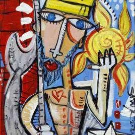 quadro moderno Nettuno con il tridente in mano che cattura il sole quadro per ristorante di pesce quadro con Poseidone il dio del mare quadro moderno per Bar Nettuno