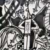 quadro moderno con diversi personaggi ragazzo con siringa sulla maglia con riferimento al vaccino anti covid quadro per arredare ambienti moderni
