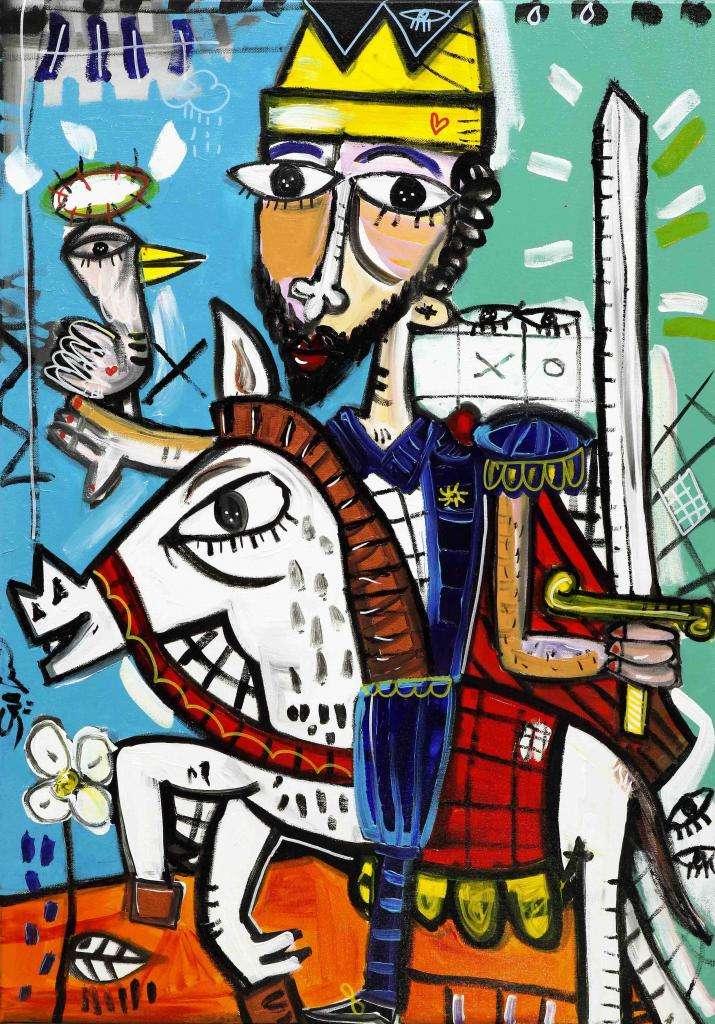 quadro moderno con re su cavallo bianco dipinto originale di Alessandro Siviglia quadro con uccellino che porta un messaggio al re quadro per animalisti