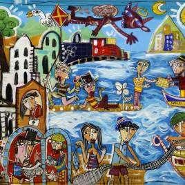 quadro moderno della costiera Amalfitana con la scala di Amalfi, il mare, Capri, diversi personaggi come pescatori, pizzaioli, turisti, barche in stile contemporaneo naiif, art brut