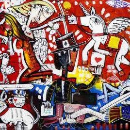 quadro moderno di grande dimensione con una scena complessa di tanti personaggi e oggetti su un fondo rosso dipinto a mano in uno stile cubista contemporaneo surreale