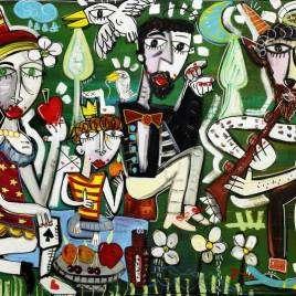 quadro moderno figurativo ritratto di famiglia in stile cubista contemporaneo coppia con bambino che fa un picnic a Villa Borghese a Roma immerso nel verde quadro allegro