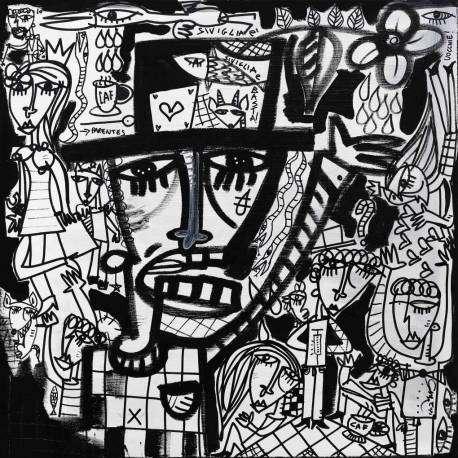 quadro moderno in bianco e nero quadro astratto figurativo molto complesso dipinto a mano su tela da Alessandro Siviglia artista quotato di fama internazionale opera d'arte originale