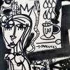 quadro moderno opera d'arte astratta figurativa surreale e molto complessa con personaggi, simboli e oggetti nascosti da scoprire ed interpretare quadro di Siviglia in bianco e nero