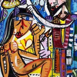 quadro moderno per arredare casa molto colorato con un re ed una donna nuda con fondo azzurro quadro figurativo in stile Sivigliano cubista contemporaneo