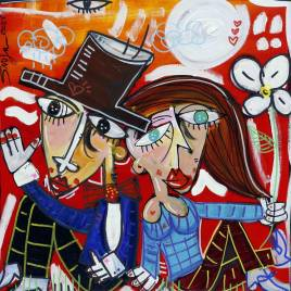 quadro moderno per camera da letto quadro romantico con coppia d'innamorati su fondo rosso quadro piccolo sfizioso per arredare casa quadro regalo nozze