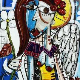 quadro moderno ritratto di donna con capelli rossi in stile cubista su fondo blu donna con ali da angelo e aureola quadro con fiori quadro decorativo e sereno