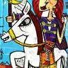 quadro moderno ritratto di donna con capelli rossi regina su cavallo bianco dipinto originale in stile cubista con fondo celeste quadro per donna forte female leader che va avanti