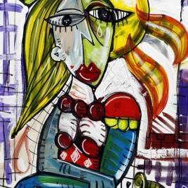 quadro moderno ritratto di una donna con capelli biondi quadro con ragazza principessa in stile cubista quadro tipi picasso per arredare la camera da letto