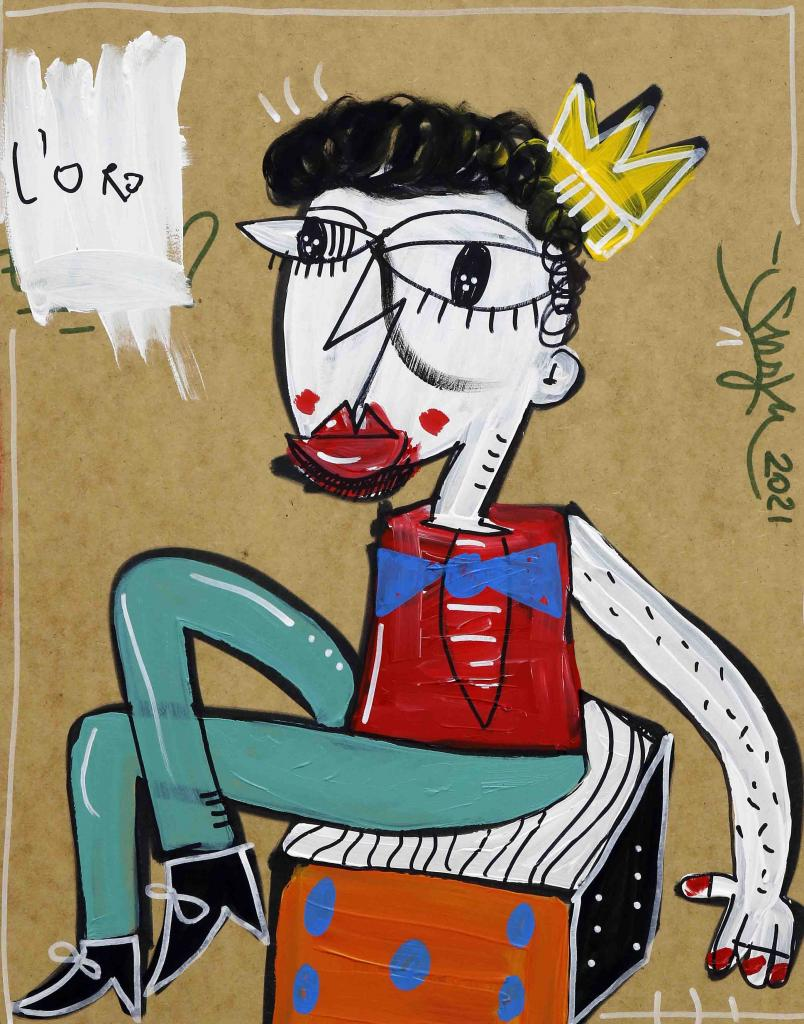 QUADRO MODERNO ritratto di bambino seduto su un dado con gambe incrociate e corona in testa ritratto piccolo principe monello ideale per decorare cameretta di bambini