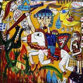quadro moderno con San Giorgio come uccide il drago quadro per vigile del fuoco quadro colorato san Giorgio a cavallo con lancia e scudo con fondo giallo