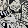 quadro moderno con archangelo Gabriele a cavallo dipinto in bianco e nero su tela modern painting with arcangel Gabriel on horse back