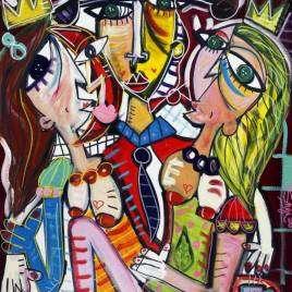 quadro moderno in stile cubista con torero e due donne ritratto nudo figurativo quadro per casa quadro per casanova dipinto su tela per decorare casa