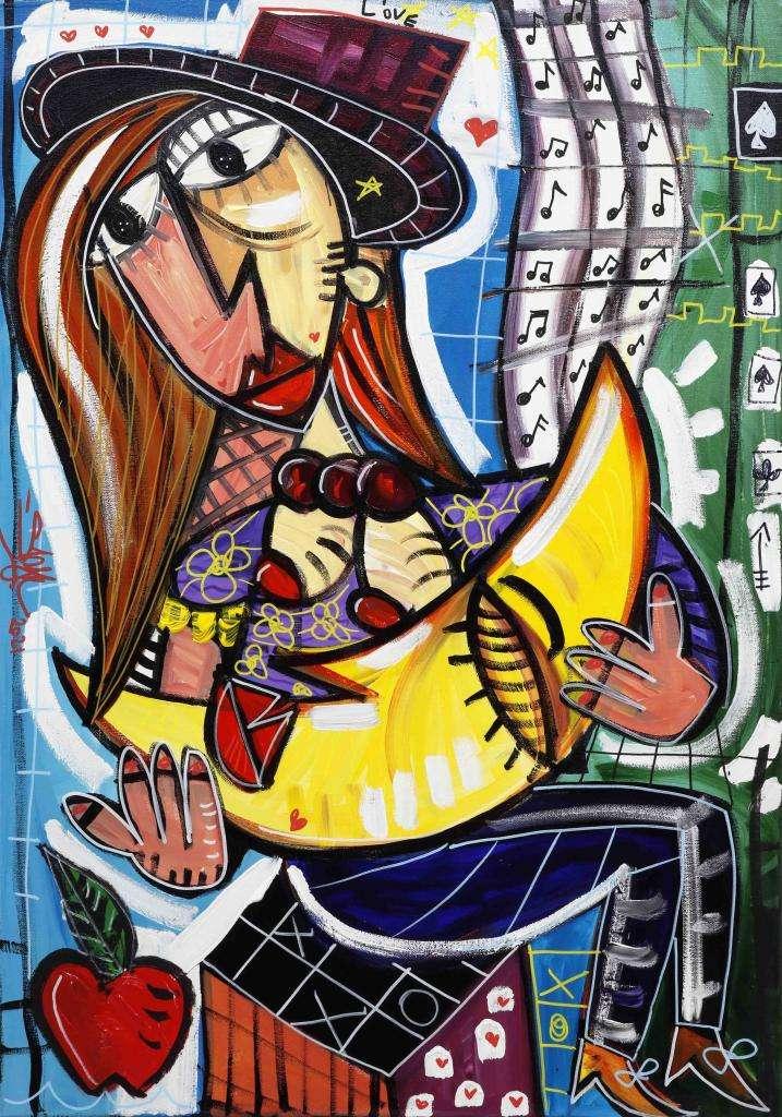 quadro moderno ritratto di donna con luna in braccio quadro sulla maternità ma con grande sensibilità anche per le donne che hanno subito un aborto